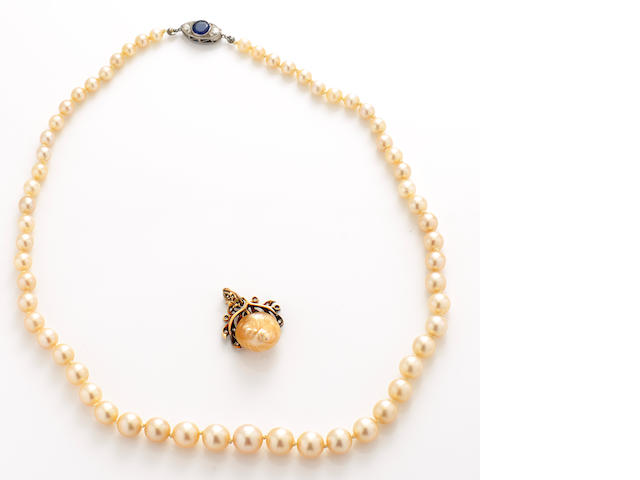 A group of cultured pearl, diamond, sapphire, platinum and gold jewelry