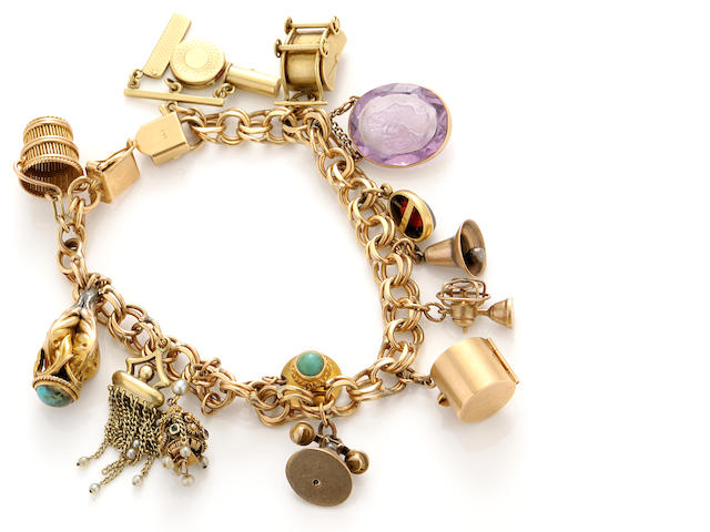 A gem-set and gold bracelet