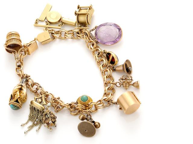 A gem-set and gold bracelet