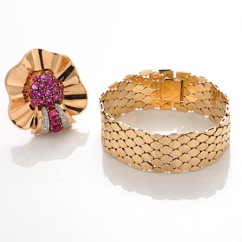 A retro ruby, diamond and 14k gold clip brooch together with a 14k gold bracelet