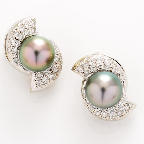 A pair of colored cultured pearl, diamond and 18k white gold earclips