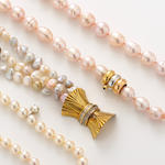 A group of three cultured pearl, colored cultured pearl, diamond and gold necklaces