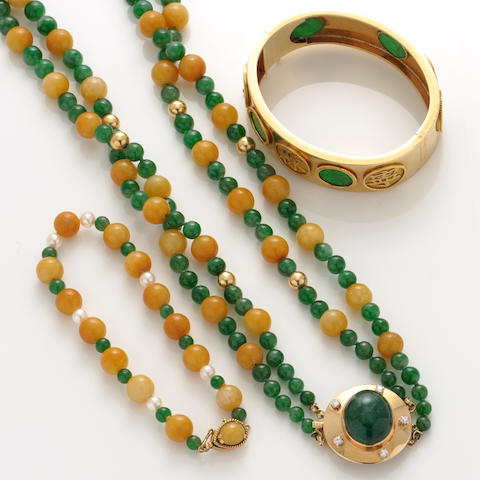 A collection of jade, hardstone bead, cultured pearl, diamond and gold jewelry