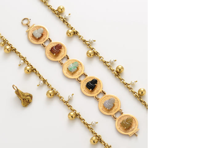 A group of agate, cultured pearl and gold jewelry