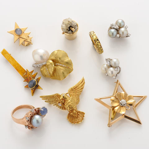 A group of gem-set, diamond and bicolor gold jewelry articles