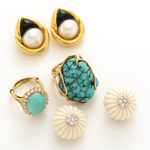 A collection of gem-set, diamond, white coral, turquoise and gold jewelry