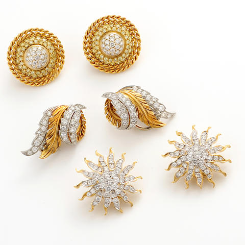 A group of three diamond, platinum and gold earclips