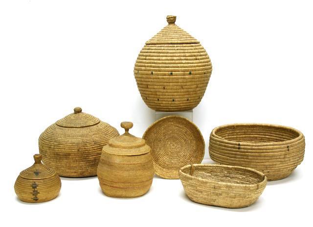 Seven Eskimo baskets