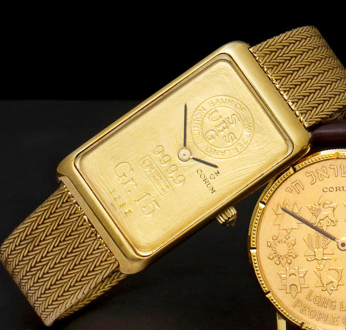 Corum. A fine 18K gold wristwatch and bracelet incorporating a gold ingot55400P.58 / 348667