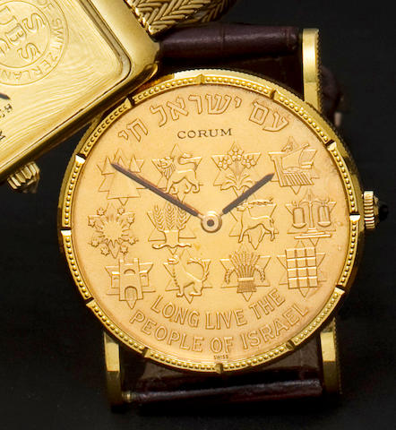 Corum. An fine 18K gold coin wristwatch commemorating the founding of the State of IsraelMovement no. 116306, Case no. 139782, 1970's