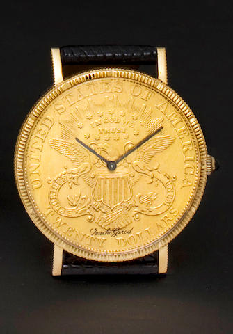 Bueche Girod. A gold coin form wristwatch