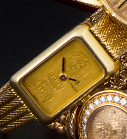 Corum. A fine 18K gold lady's wristwatch and bracelet incorporating a gold ingot14300P58 / 337659