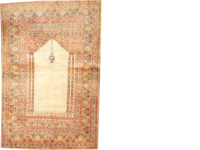 A silk Hadji Jalili Tabriz rug  Northwest Persia size approximately 3ft. 10in. x 5ft. 9in.