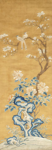 An embroidered silk panel 18th/19th century