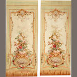 A Pair of Aubusson tapestries France  size approximately for each 4ft. x 9ft.