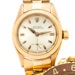 Rolex. A 18K rose gold automatic lady's wristwatch with braceletOyster Perpetual, Ref:6509 Case no. 326041, circa 1957
