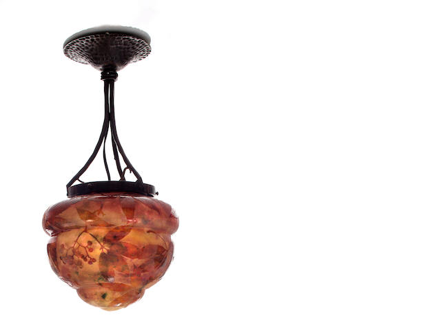 A Daum Nancy cameo glass and wrought-iron chandelier circa 1900