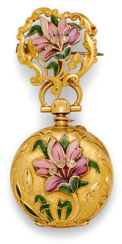 Henry Capt, L. Galopin & Cie., Succ'r, Genève. A fine enameled 18K gold diamond set small lapel watch and broochNo. 43546, late 19th century