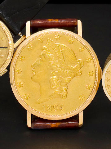 Eska. An 18K gold coin wristwatch