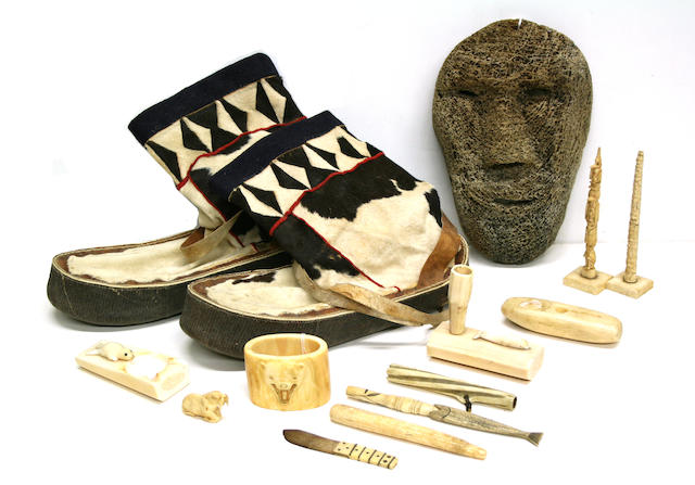 A collection of Eskimo items