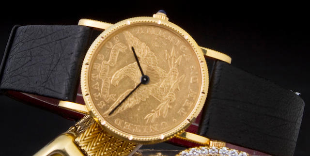 Corum. A fine 18K gold American ten dollar coin wristwatchCase No. 152714, Movement No. 5726F