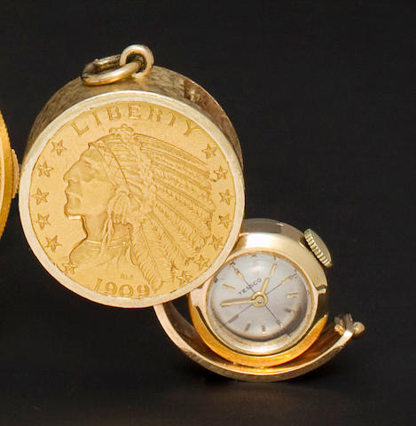 Tessco. A 14K gold fob watch formed from a five dollar gold piece