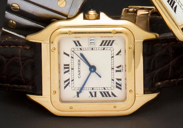Cartier. An 18K gold wristwatch with center seconds hand and datePanthère, No. 10602/C12856, sold in 1996