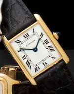 Cartier, Paris. An 18K gold Tank wristwatchNo. 027520, 1980's