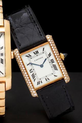 Cartier, Paris. A fine 18K diamond set Tank wristwatchRef:960190039J