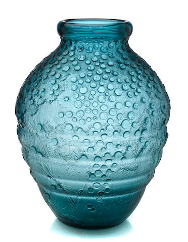 A Daum Nancy acid-etched emerald green glass vase circa 1925