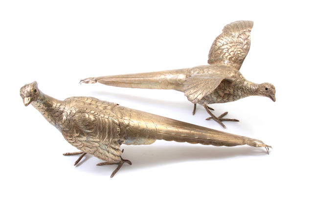 A pair of  sterling silver  figures of pheasants  20th century