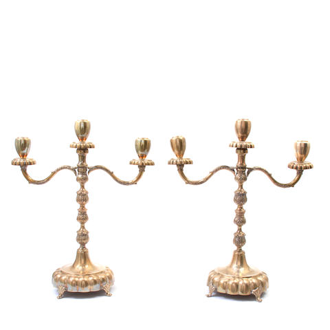 A pair of Mexican sterling silver  three-light candelabra Kimberley, Mexico City,  mid-20th century