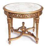 A Louis XVI style giltwood center table