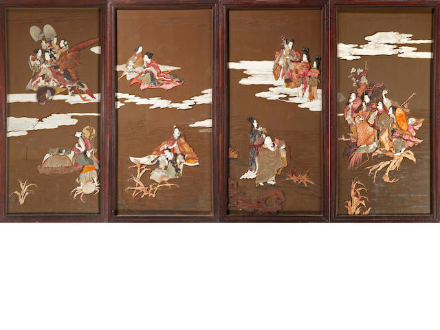 A set of four inlaid lacquered wood panels Meiji period