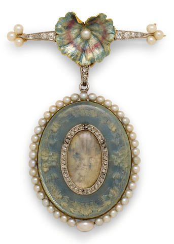 Verger frères, Paris. A fine Belle Epoque enameled 18K gold, seed pearl and diamond lapel watch and a broochRetailed by The Gorham Co., circa 1915