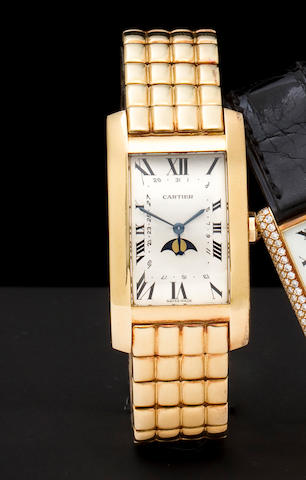 Cartier. An 18K gold tank bracelet watch with date and moon phaseRef: 819907/000009