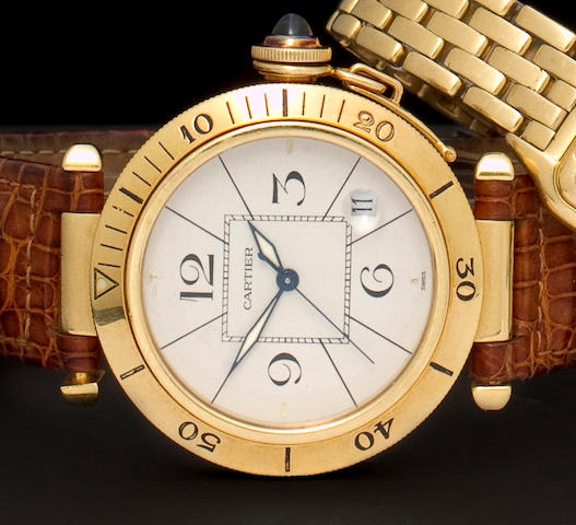 Cartier. An 18K gold automatic wristwatch with center seconds and datePasha, No. 850131820903