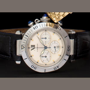Cartier. A stainless steel chronograph wristwatchPasha, Ref: 10501, Case No. R038195