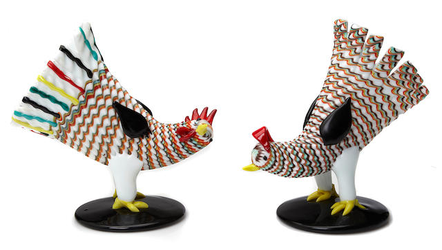 A pair of Fulvio Bianconi for Venini applied glass Pulcini birds circa 1950