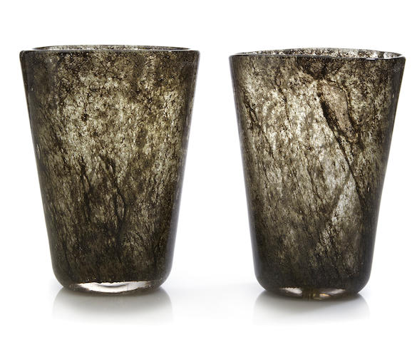A pair of Ercole Barovier for Ferro-Toso-Barovier internally decorated Crepuscolo glass vases  circa 1935