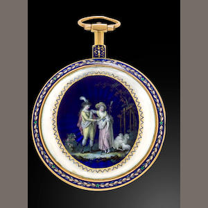 An enameled gold verge watchProbably Swiss, circa 1790