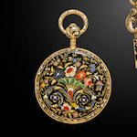An enameled gold cylinder fob watchSwiss, circa 1820