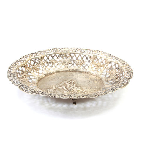 A German  silver oval reticulated footed 'Historismus' basket probably Hanau,  Late 19th / early 20th century