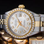 Rolex. A fine lady's stainless steel, gold and diamond automatic watch and braceletDatejust, Ref:6917, Case No. 5129558, circa 1977