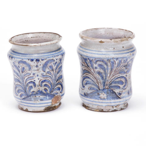Two Italian maiolica drug jars