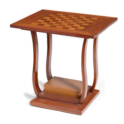 An Art Deco style inlaid mahogany games table
