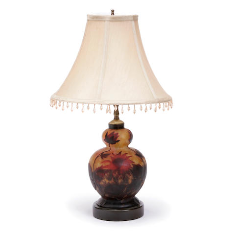 A French cameo glass vase, now mounted as a table lamp