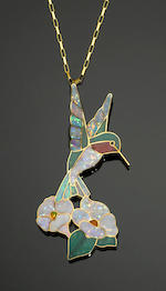 "Australian Opal Intarsia and Gold Pendant--""The Ruby-throated Hummingbird"""