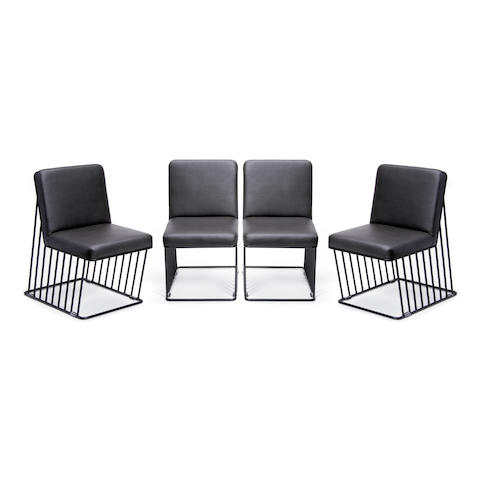 A set of four Phase Design enameled steel dining chairs