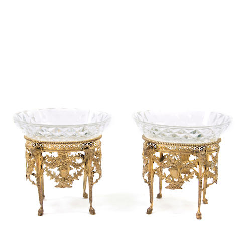 A pair of French  silver gilt and cut and pressed glass footed bowls 19th / 20th century